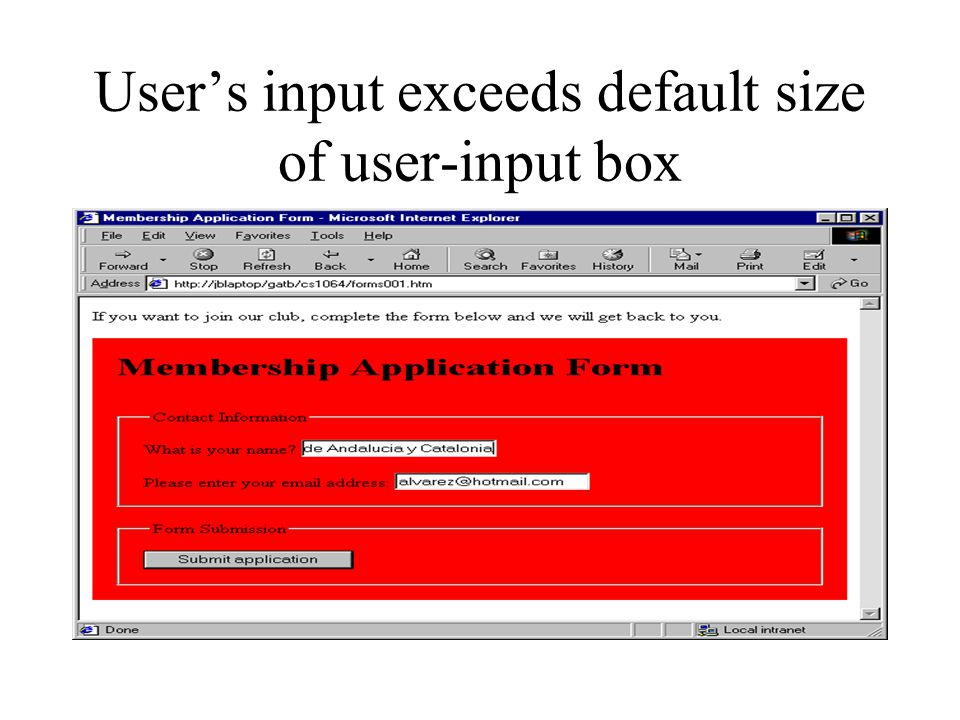 User's input exceeds default size of user-input box