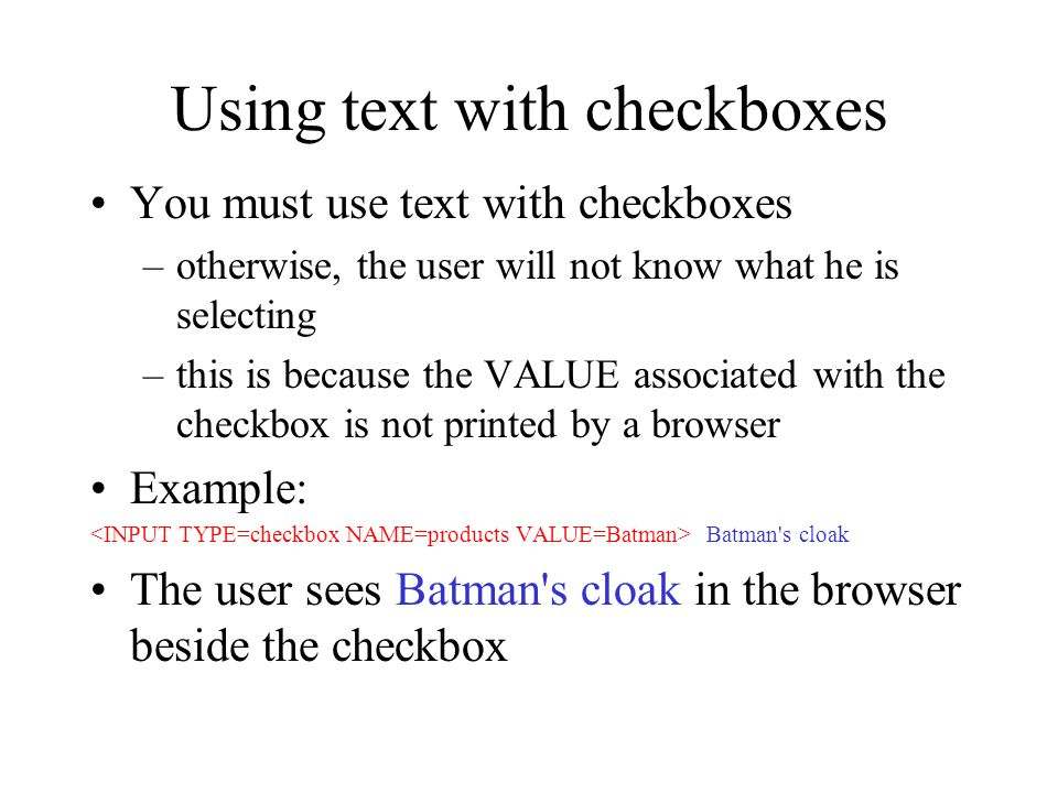 Using text with checkboxes