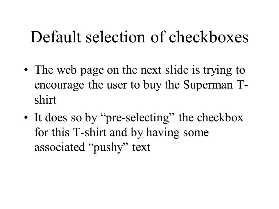 Default selection of checkboxes