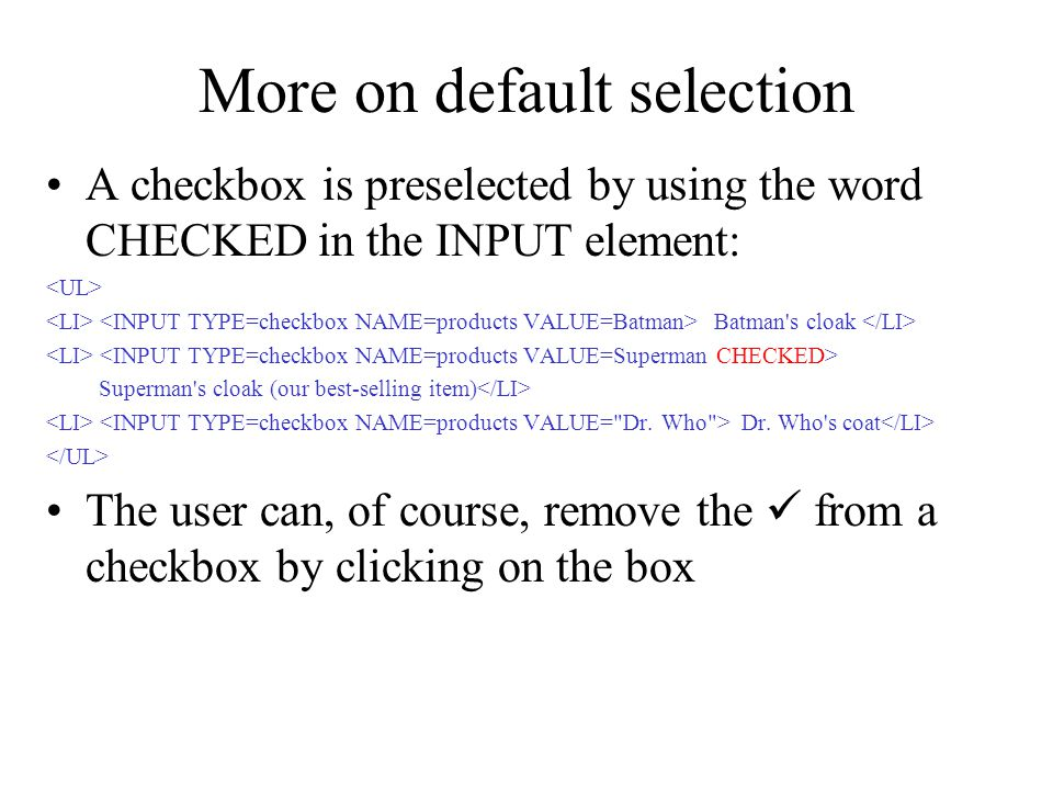 More on default selection