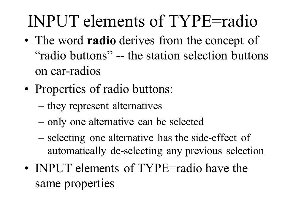 INPUT elements of TYPE=radio