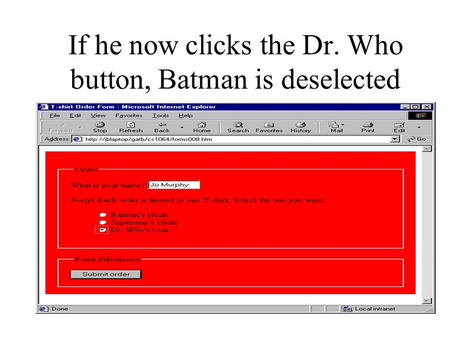 If he now clicks the Dr. Who button, Batman is deselected