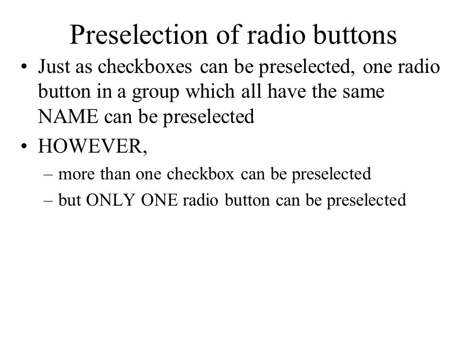 Preselection of radio buttons