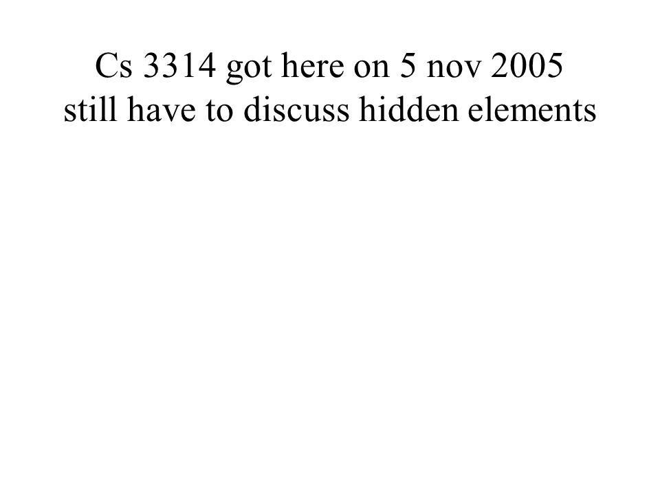 Cs 3314 got here on 5 nov 2005 still have to discuss hidden elements