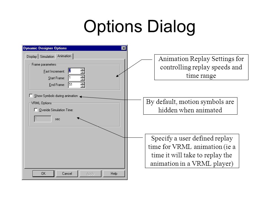 Options Dialog Animation Replay Settings for controlling replay speeds and time range. By default, motion symbols are hidden when animated.