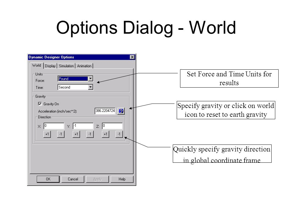 Options Dialog - World Set Force and Time Units for results