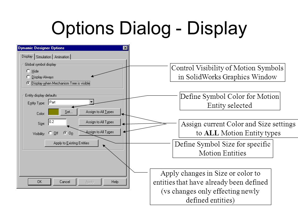 Options Dialog - Display