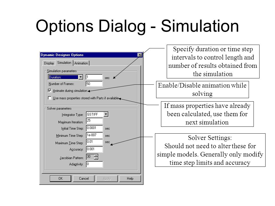 Options Dialog - Simulation