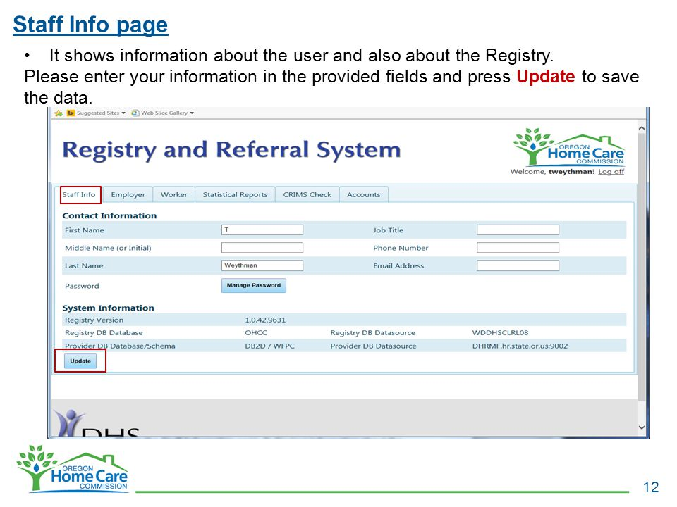 Staff Info page It shows information about the user and also about the Registry.