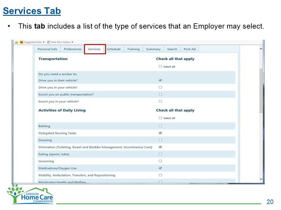 Services Tab This tab includes a list of the type of services that an Employer may select.