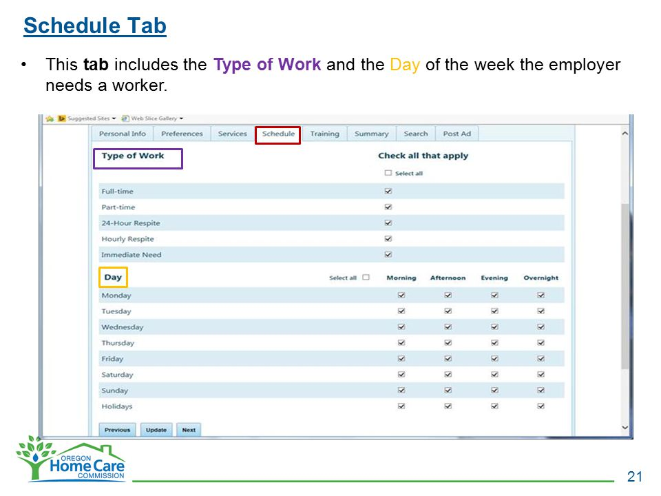 Schedule Tab This tab includes the Type of Work and the Day of the week the employer needs a worker.