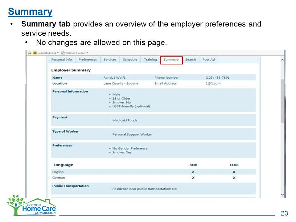Summary Summary tab provides an overview of the employer preferences and service needs.