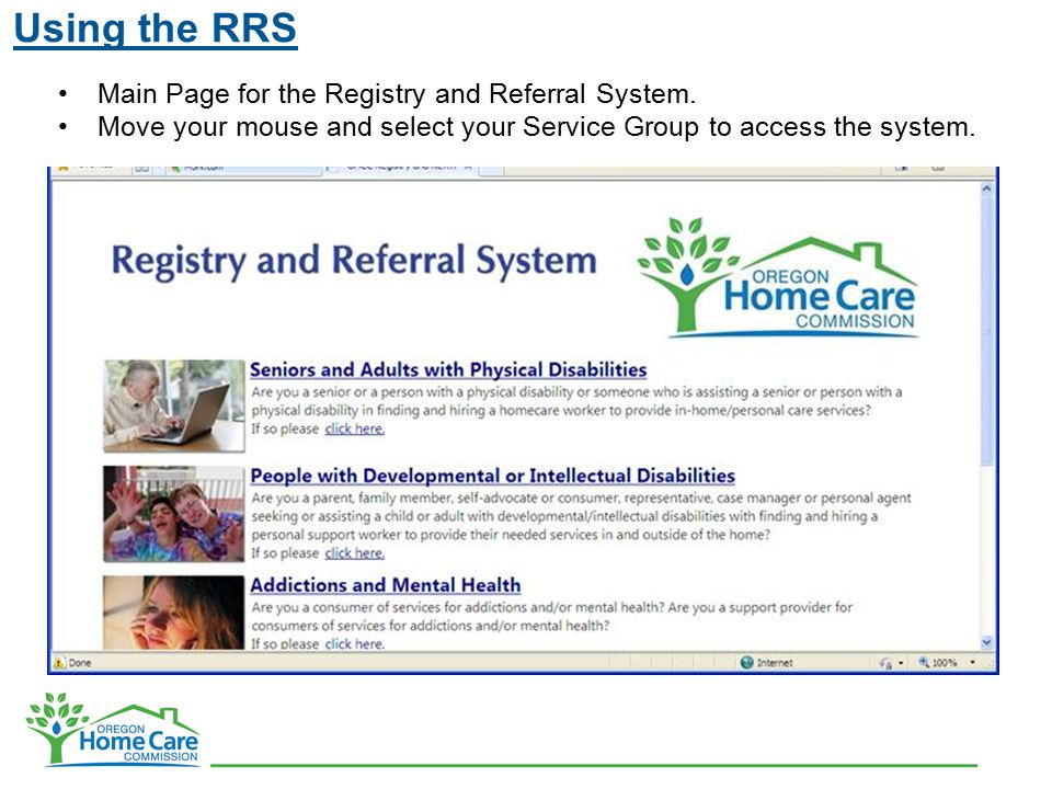 Using the RRS Main Page for the Registry and Referral System.