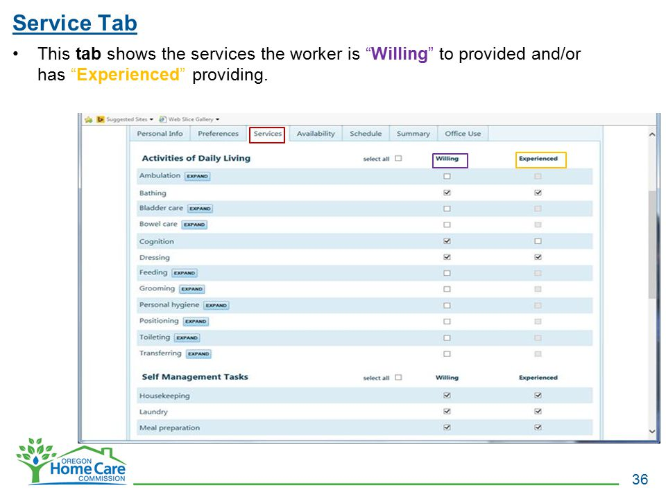 Service Tab This tab shows the services the worker is Willing to provided and/or has Experienced providing.