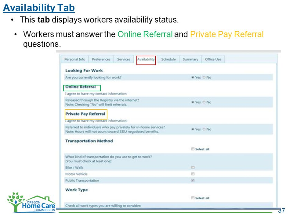 Availability Tab This tab displays workers availability status.