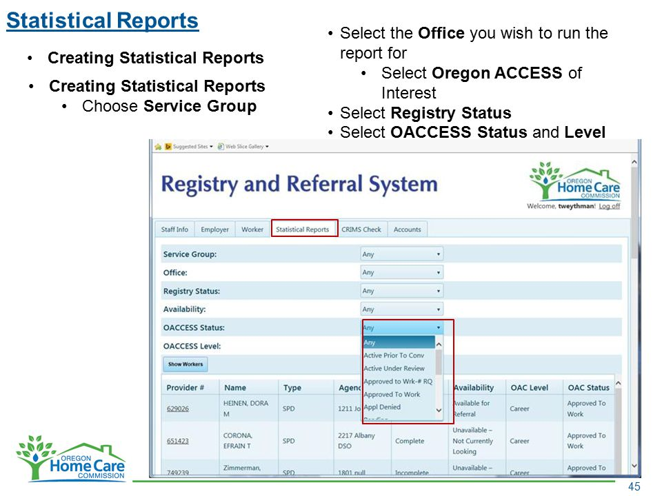 Statistical Reports Select the Office you wish to run the report for