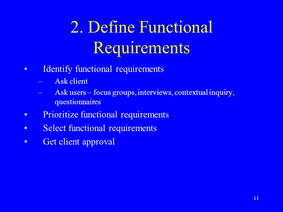 2. Define Functional Requirements