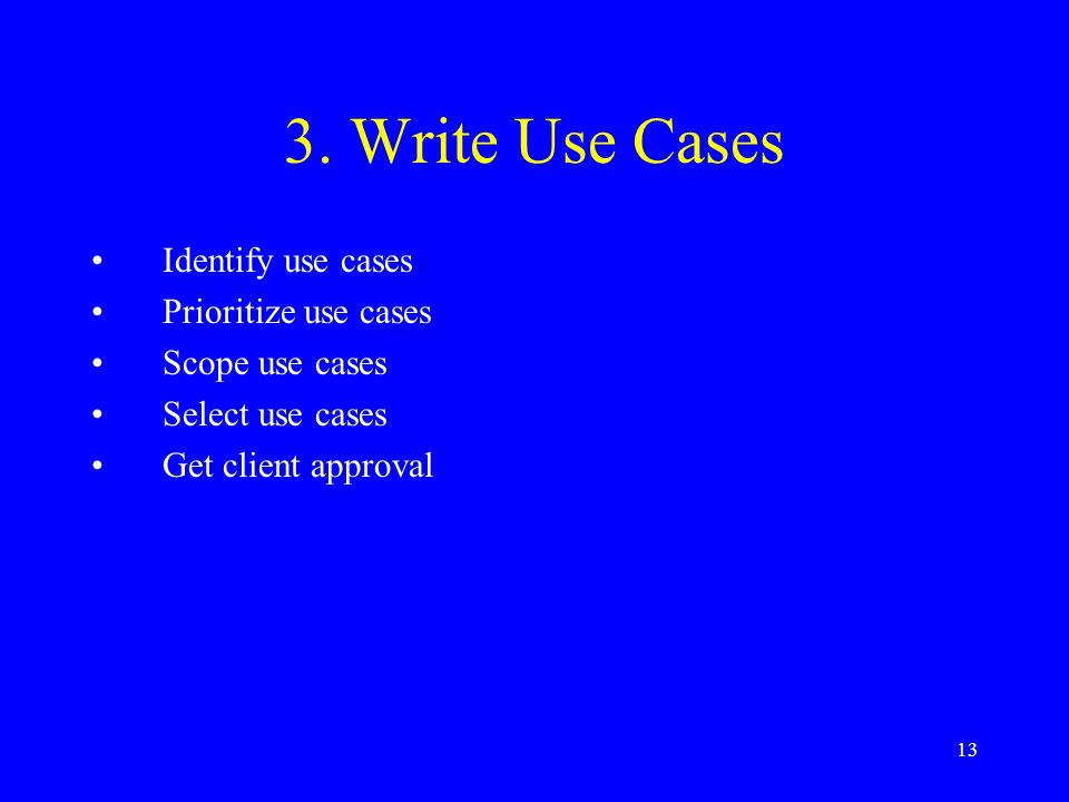 3. Write Use Cases Identify use cases Prioritize use cases