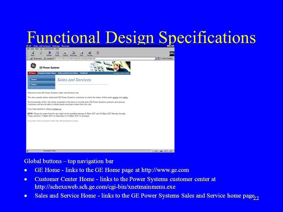 Functional Design Specifications