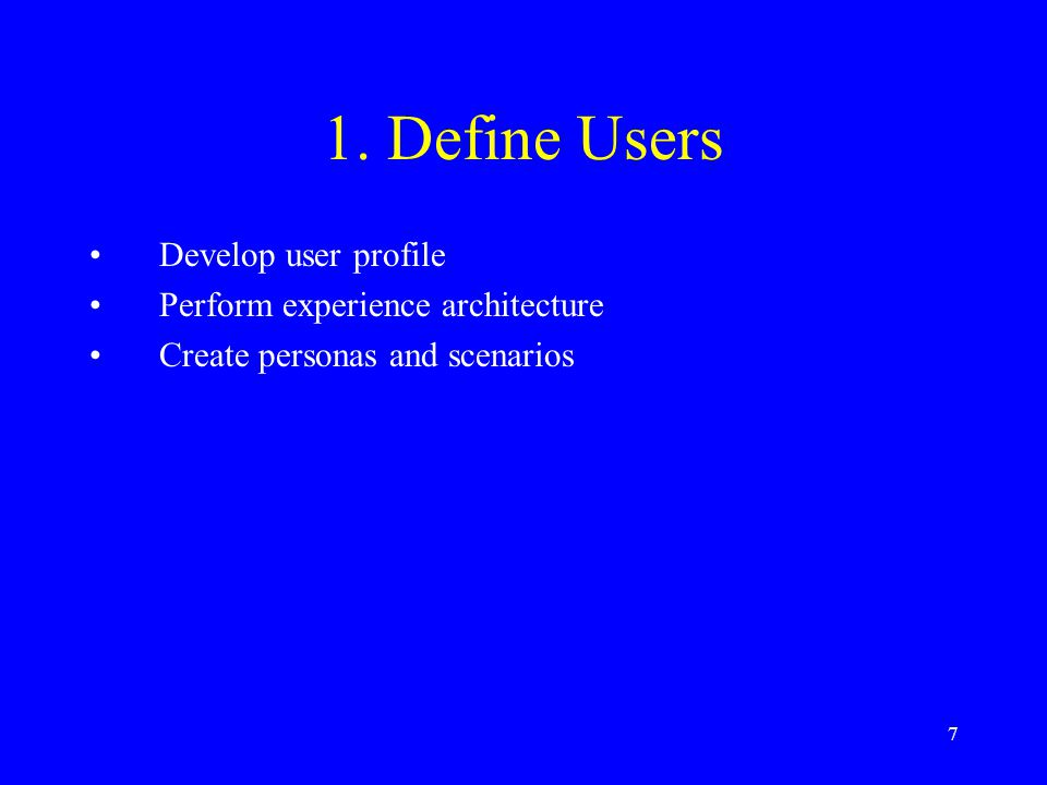 1. Define Users Develop user profile Perform experience architecture