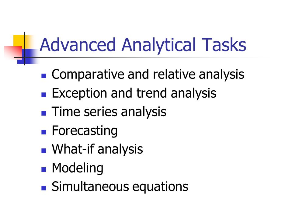 Advanced Analytical Tasks