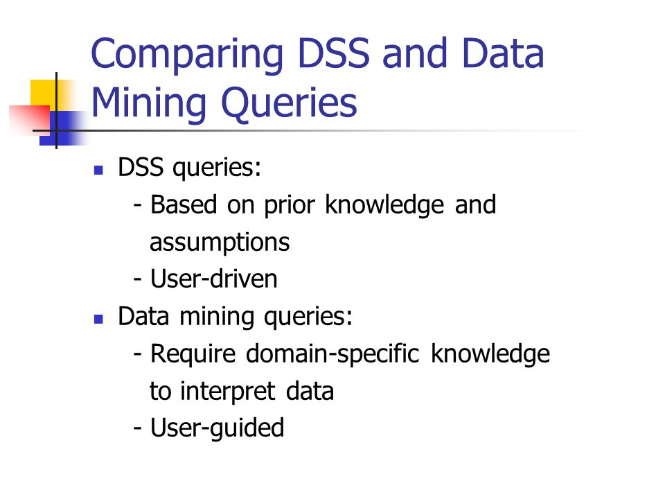 Comparing DSS and Data Mining Queries