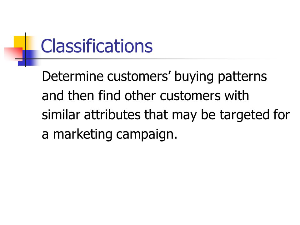 Classifications Determine customers' buying patterns