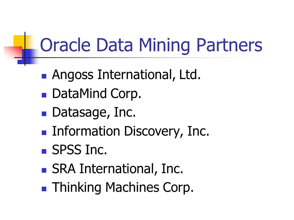 Oracle Data Mining Partners