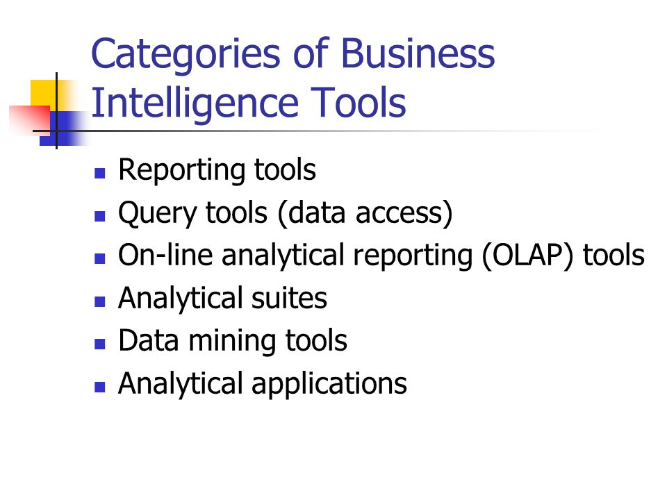 Categories of Business Intelligence Tools