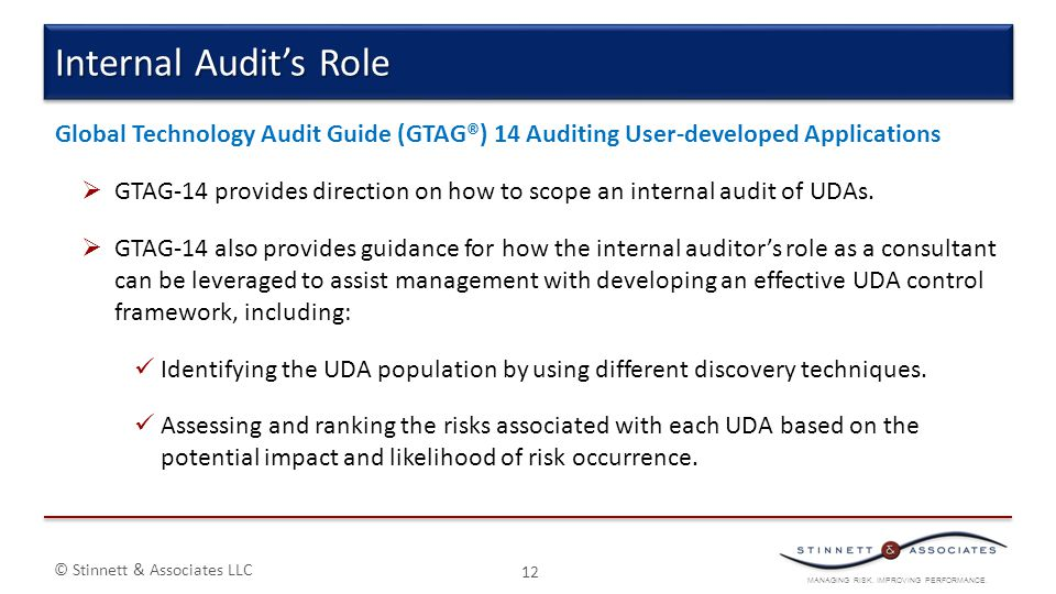 Internal Audit's Role Global Technology Audit Guide (GTAG®) 14 Auditing User-developed Applications.