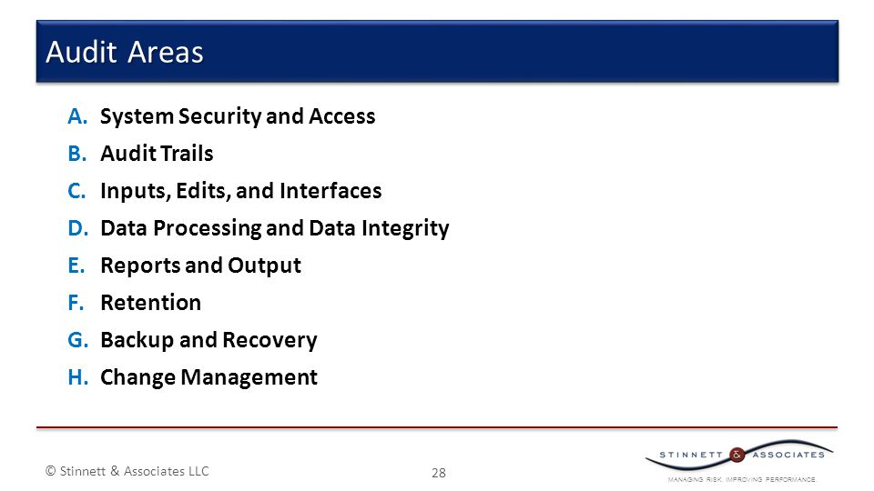 Audit Areas System Security and Access Audit Trails