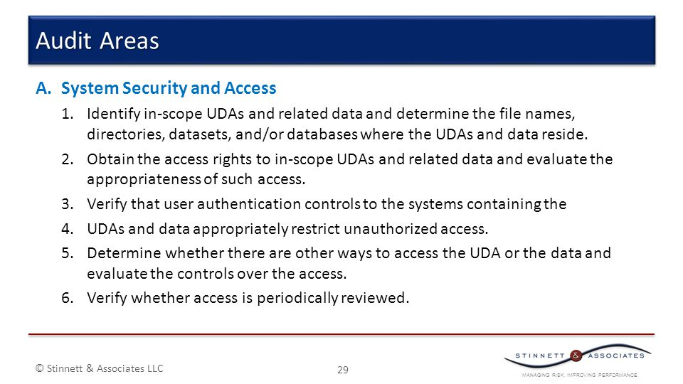 Audit Areas System Security and Access