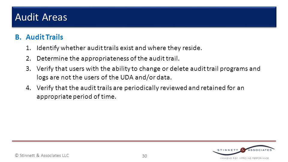 Audit Areas Audit Trails