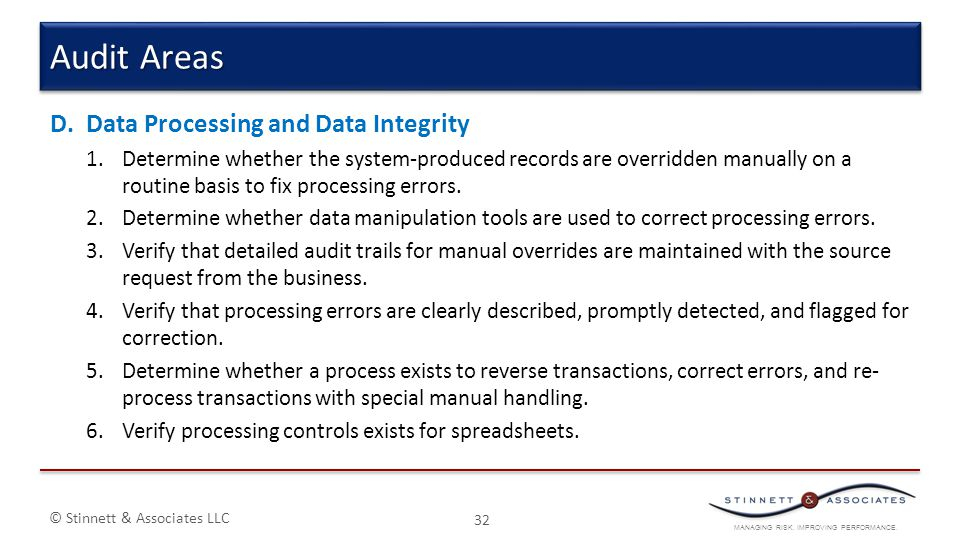 Audit Areas Data Processing and Data Integrity