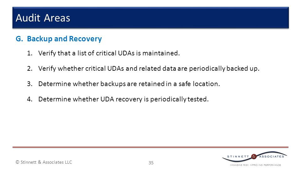 Audit Areas Backup and Recovery