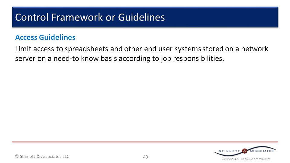 Control Framework or Guidelines