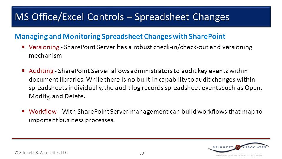 MS Office/Excel Controls – Spreadsheet Changes