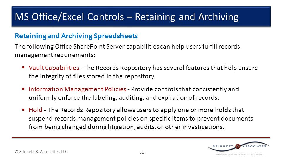 MS Office/Excel Controls – Retaining and Archiving