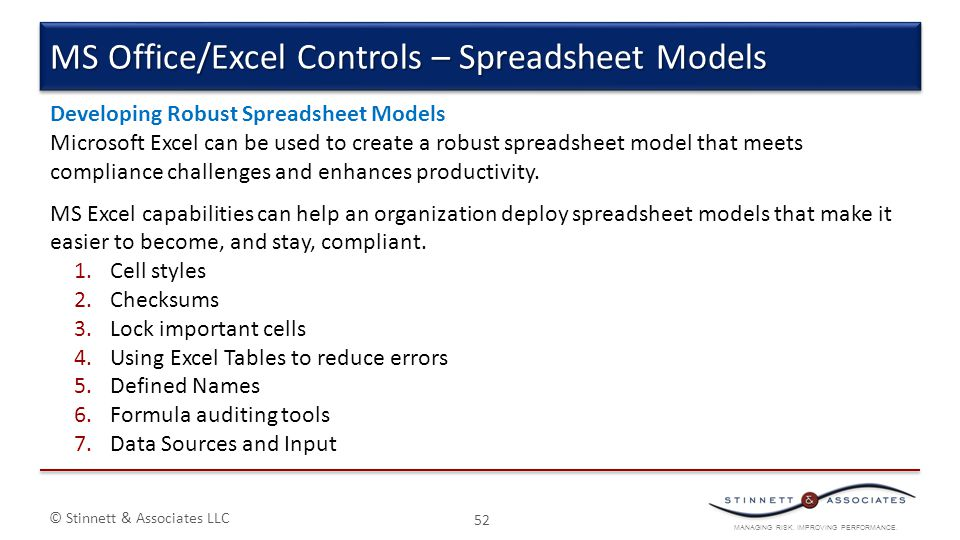 MS Office/Excel Controls – Spreadsheet Models
