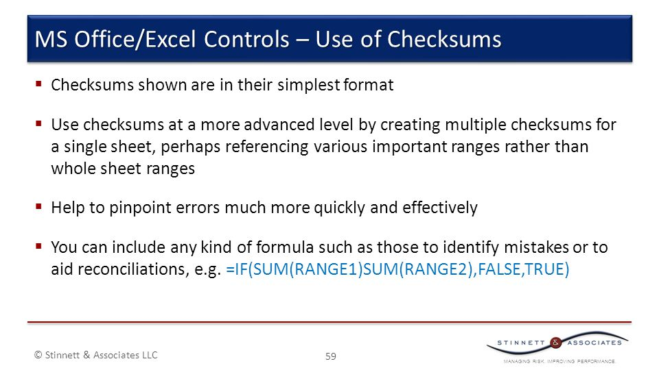 MS Office/Excel Controls – Use of Checksums