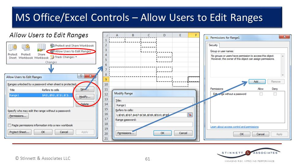 MS Office/Excel Controls – Allow Users to Edit Ranges