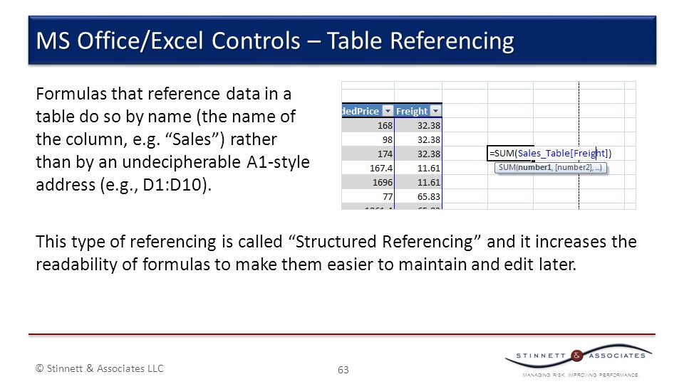 MS Office/Excel Controls – Table Referencing