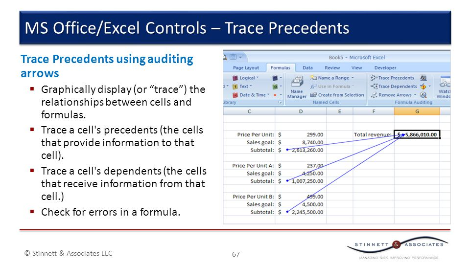 MS Office/Excel Controls – Trace Precedents