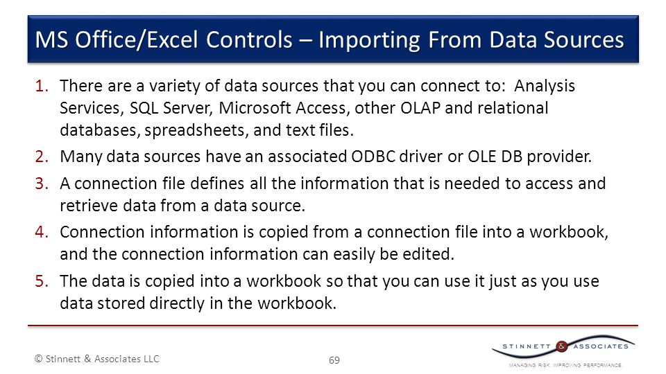 MS Office/Excel Controls – Importing From Data Sources