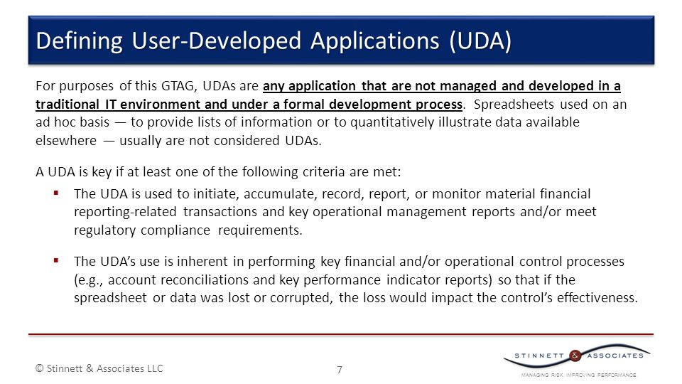 Defining User-Developed Applications (UDA)