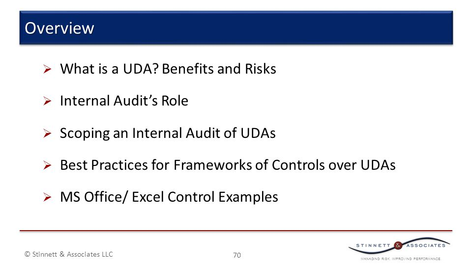 Overview What is a UDA Benefits and Risks Internal Audit's Role
