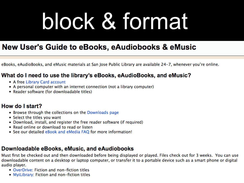 block & format
