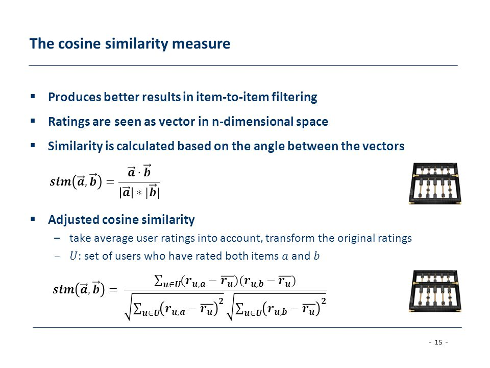 The cosine similarity measure