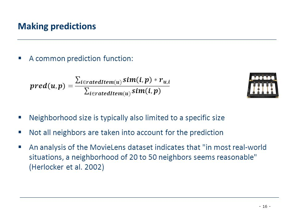 Making predictions A common prediction function: