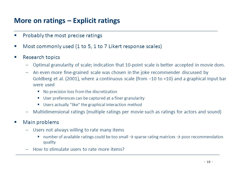 More on ratings – Explicit ratings
